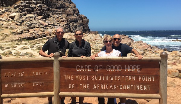 Larry and Rox and friends, Rich and Jan, enjoy sunshine at the Cape of Good Hope.