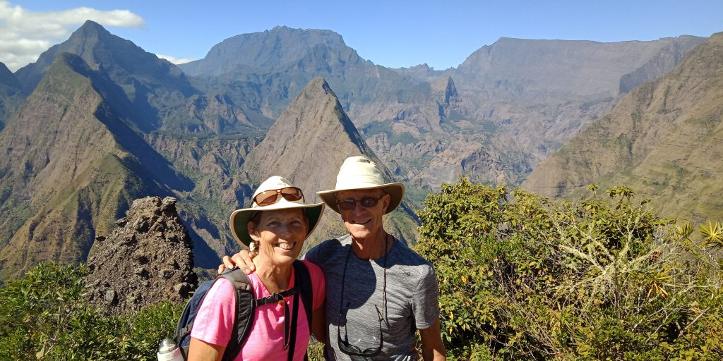 Jan and Rich in August 2018 at Cap Noir on Réunion island in the Indian Ocean east of Africa.