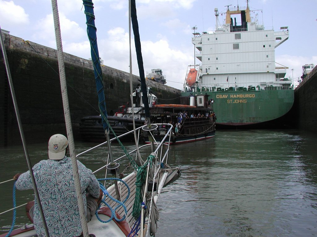 Rich at the bow as Slip Away enters a lock in the Panama Canal.