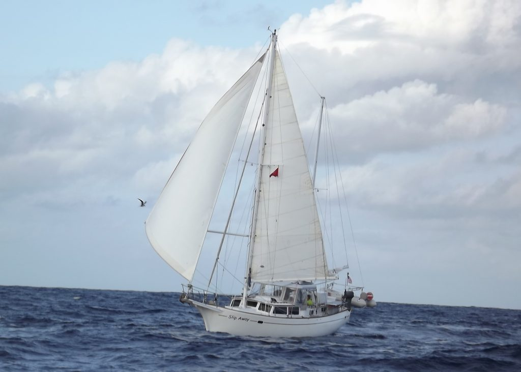 Jan and Rich's 41-foot ketch, Slip Away, en route to Samoa.